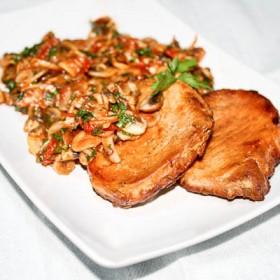 Pork chops and mushrooms