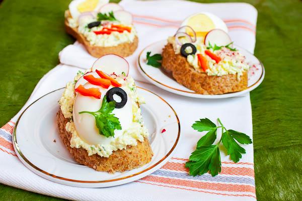 Open faced egg salad sandwiches