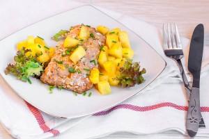 File de somon cu salata de mango