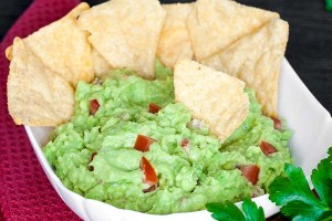 Home-made guacamole with tortilla chips